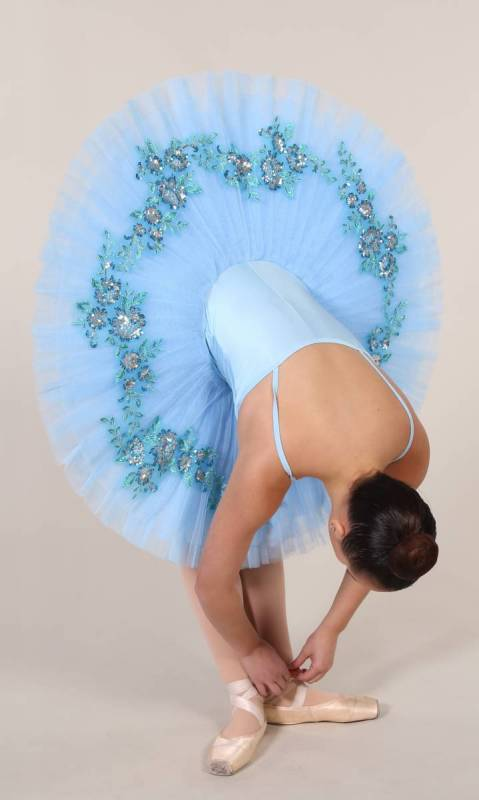 SYLVIA - PANCAKE TUTU  - Pale Blue with blue and silver applique