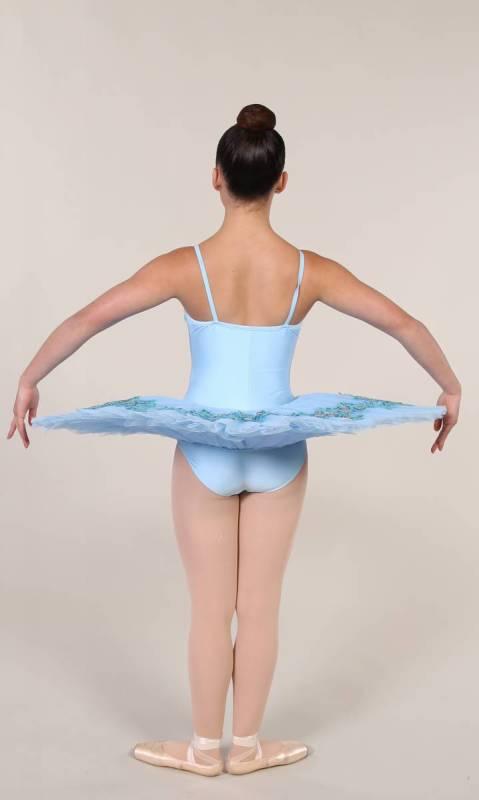 SYLVIA - PANCAKE TUTU  - Pale Blue with blue and silver applique