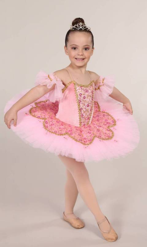 SLEEPING BEAUTY - PANCAKE TUTU  - Pink with gold trim