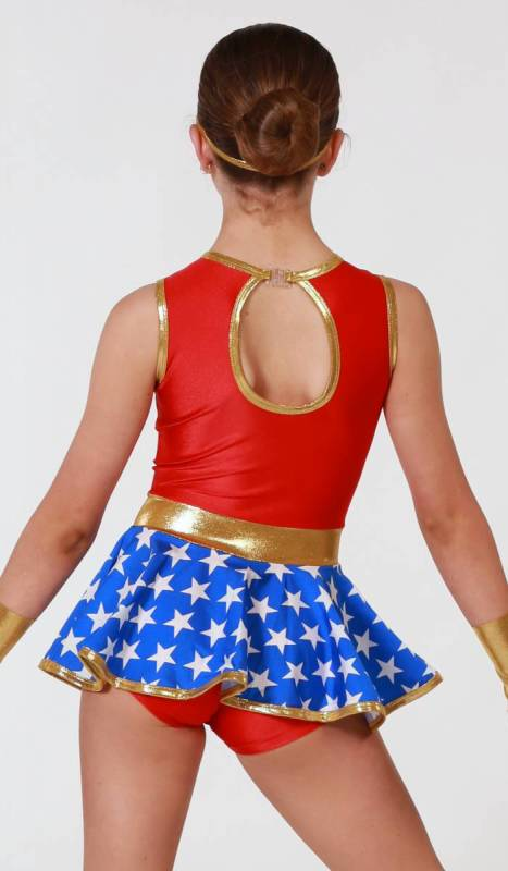 Blue and white star print lycra, red and gold