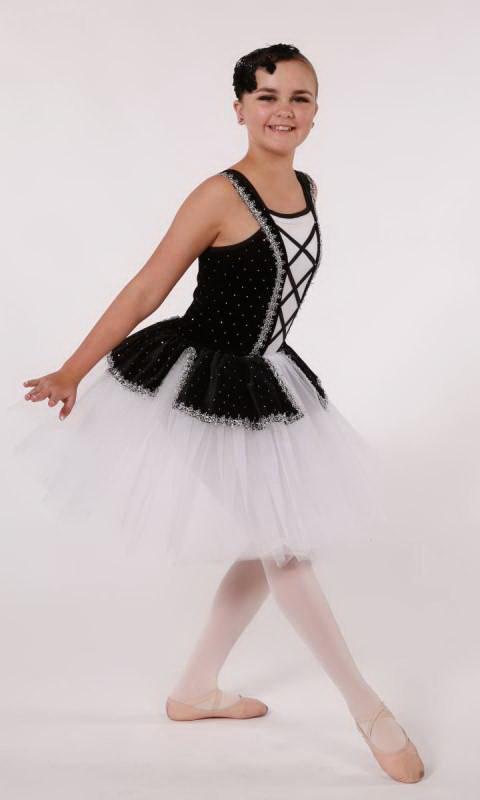 ENCHANTED - Romantic Tutu - Black White and Silver
