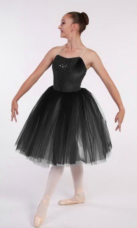 MESMERISE - romantic tutu - Black Velvet and black sequin and tulle