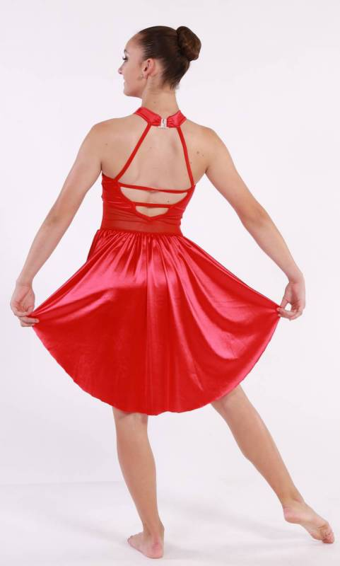 PERFECT  - Red satin with white applique