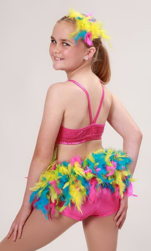 FEATHER SKIRT + HAIR FEATHER  - Pink Yellow Green and Aqua