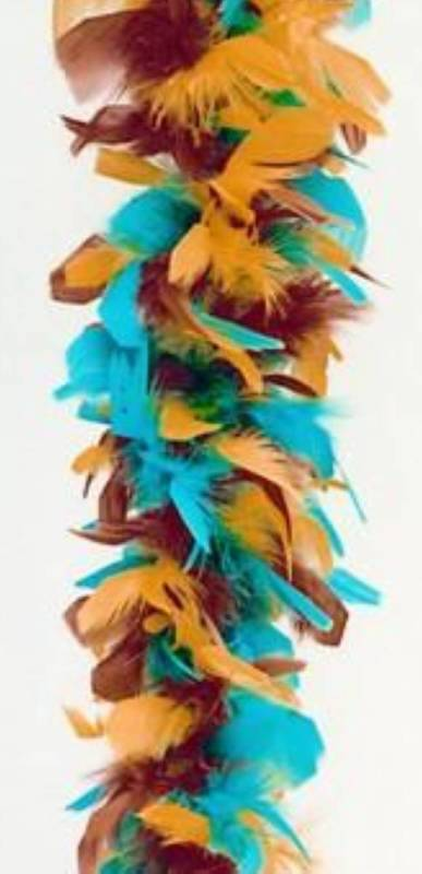 FEATHER SKIRT + HAIR FEATHER  - Brown Orange and Aqua