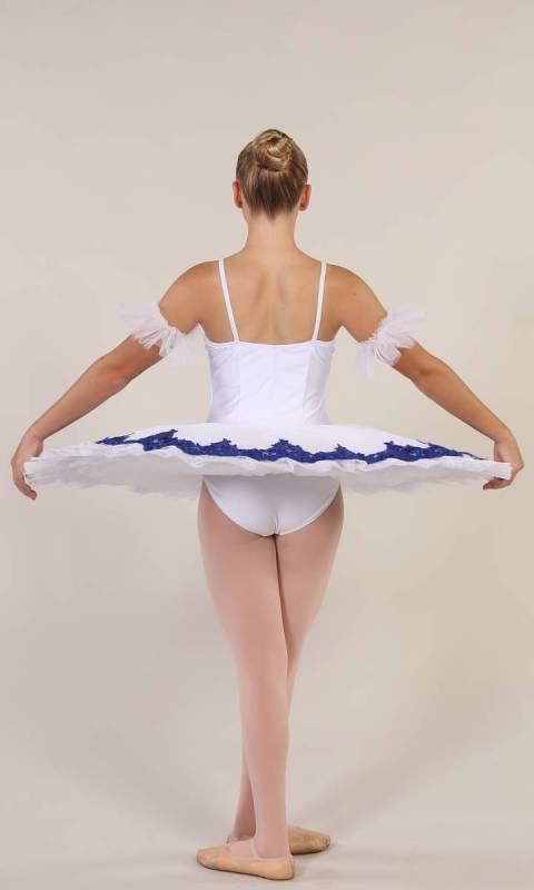YVETTE - pancake tutu  - White with royal blue applique