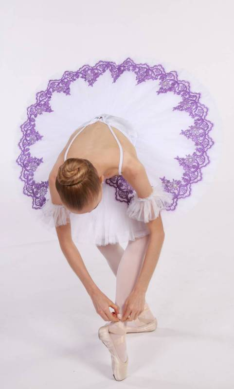 YVETTE - pancake tutu  - White with lilac lace applique