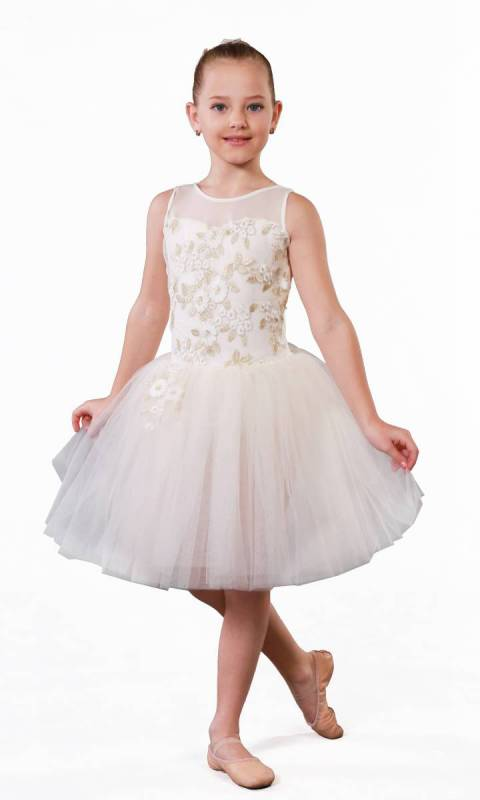 FLOWER GIRL - ROMANTIC TUTU + hair accessory - Ivory and gold