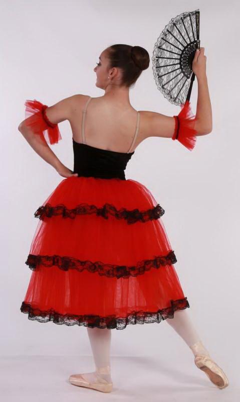 KITRI - SPANISH ROMANTIC TUTU - Red and Black - darker red