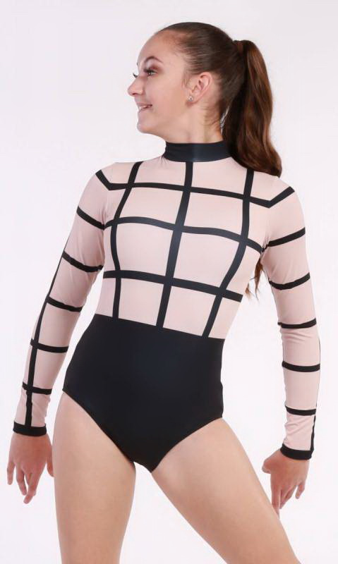 SUBLIMATED CAGE LEOTARD  - BLACK AND SKINTONE 640