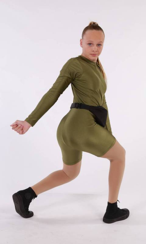 TWERK IT  - OLIVE GREEN NYLON LYCRA