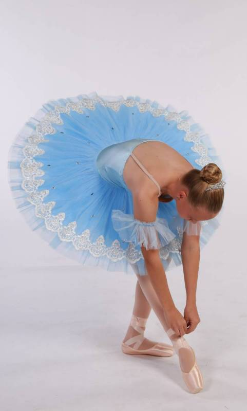 MONIQUE - Pancake Tutu  - Blue with white trim