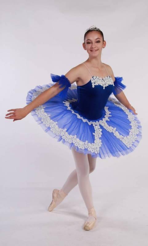 CHANTILLY - Pancake tutu  - Royal Blue with white lace