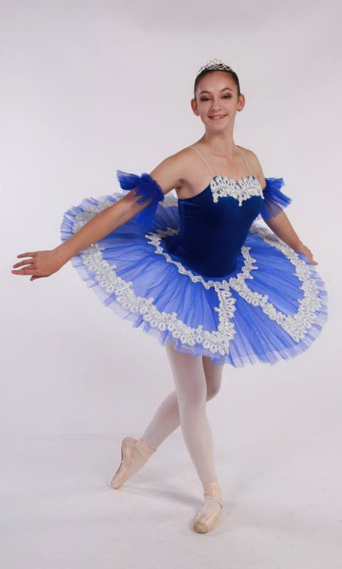 CHANTILLY - Pancake tutu  - Royal Blue with white lace