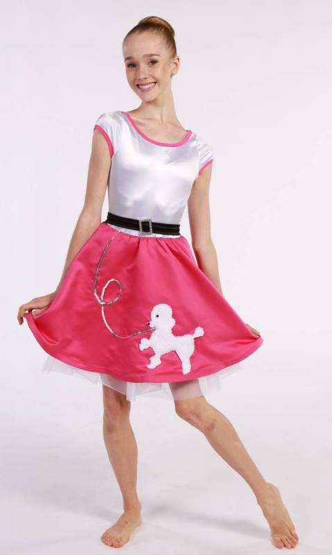 POODLE DRESS  - White and Pink