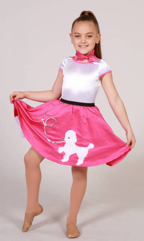 POODLE DRESS + neck tie - White and Pink