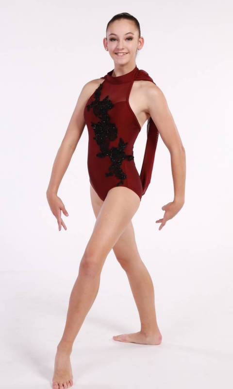 ANNALYSE - applique leotard  - Burgundy and Black