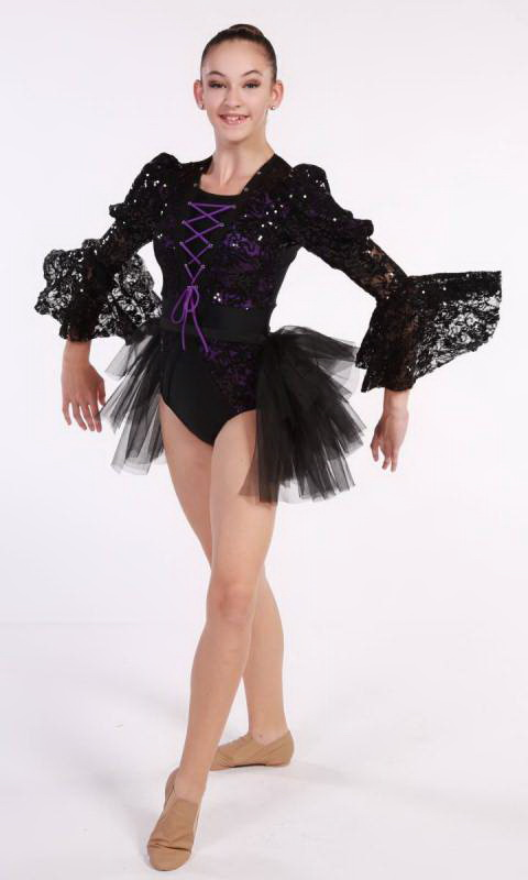 MALEFICENT  - Black and Purple  - Pictured with Bustle