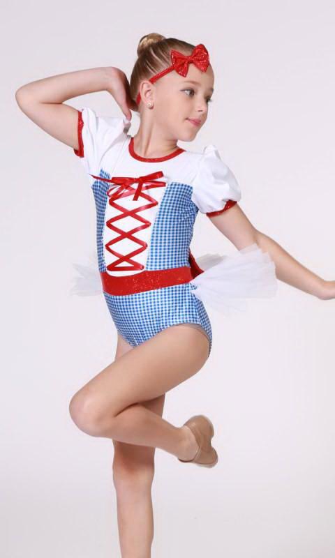 RUBY SLIPPERS - Dorothy  - Blue/White Gingham + White + Red