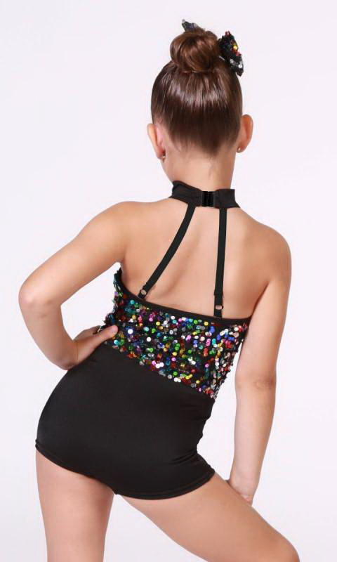 RHYTHM IS A DANCER  - Black and multi sequins - pink and blue tutu skirt
