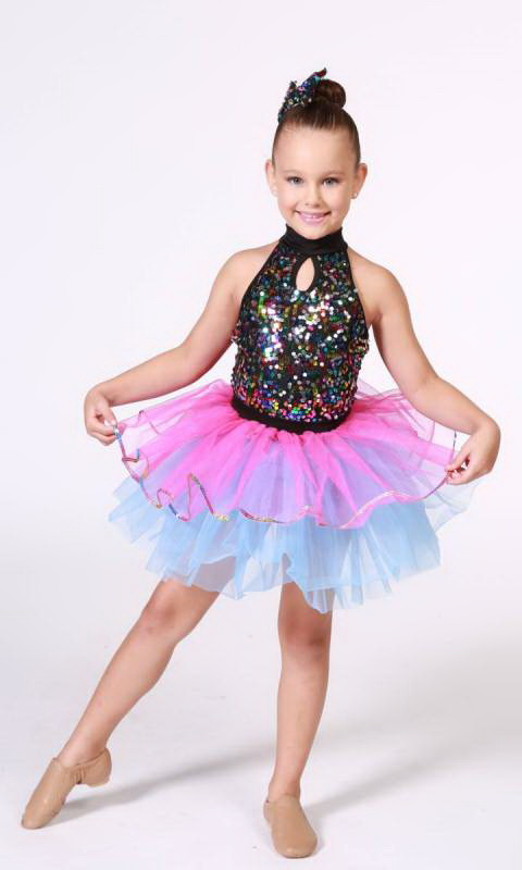 RHYTHM DANCER - Black and multi sequins - pink and blue tutu skirt