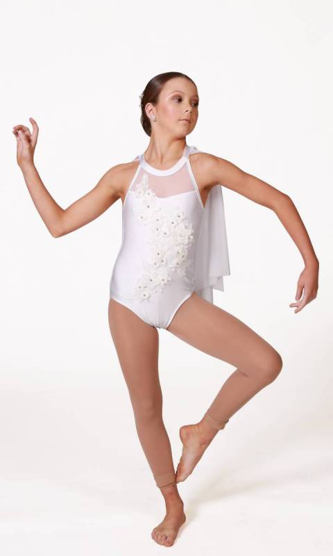 IMOGEN - Applique Leotard - White
