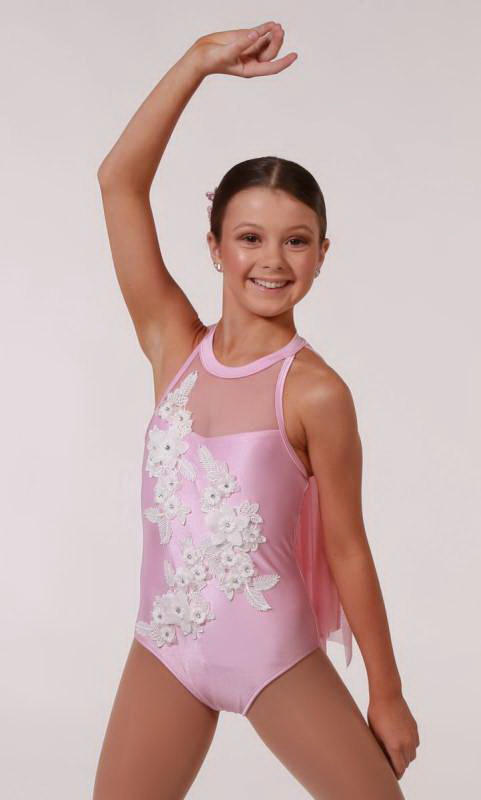 IMOGEN - Applique Leotard - Pink / white applique