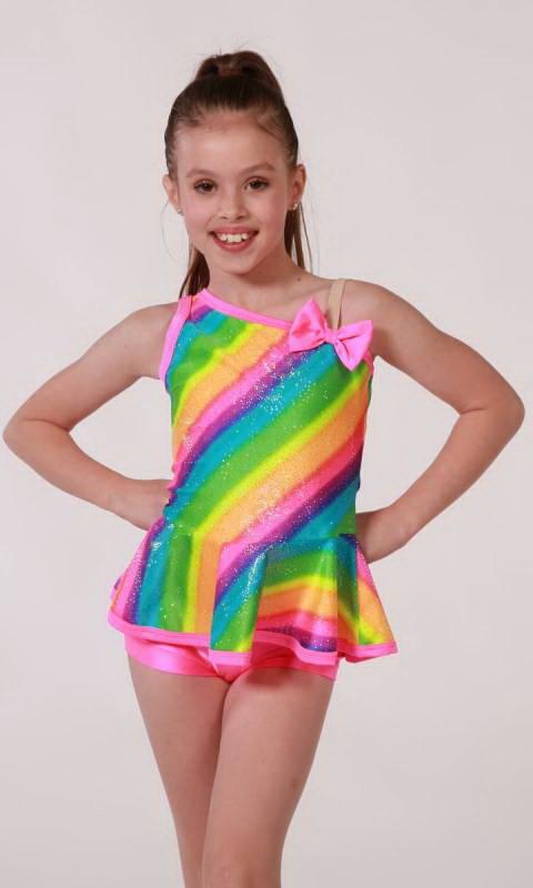 NEW CARNIVAL  2 pc - Rainbow stripe top with shiny nylon lycra shorts
