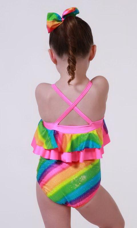 Jo Jo Leotard  - Rainbow sparkle and fluro pink