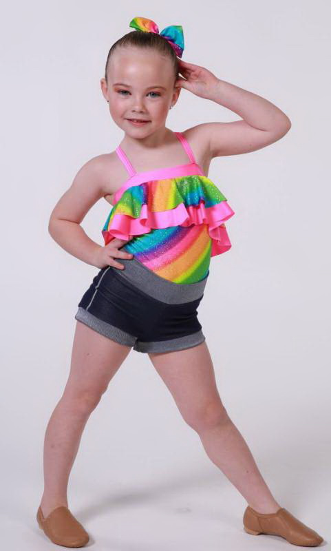 Jo Jo Leotard  - Rainbow sparkle and fluro pink pictured with denim shorts