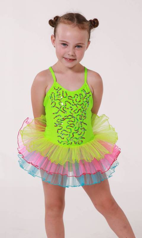Neon sequin soft tutu with headband Dance Costume