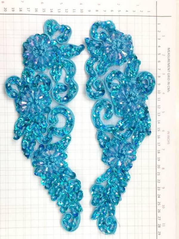 BEAD AND SEQUIN APPLIQUE - 2 piece mirrored set - Aqua
