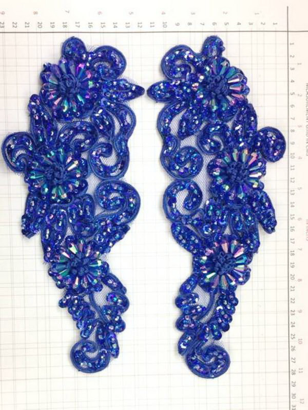 BEAD AND SEQUIN APPLIQUE - 2 piece mirrored set - Royal Blue