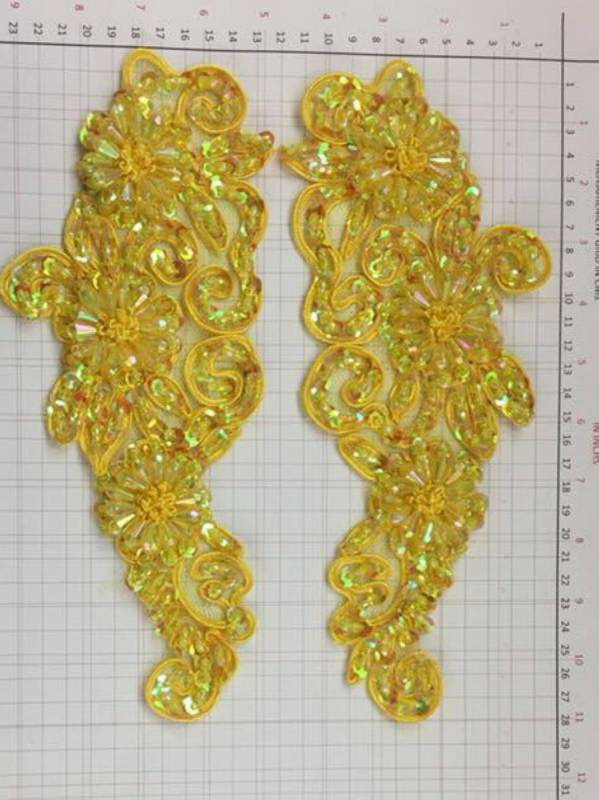 BEAD AND SEQUIN APPLIQUE - 2 piece mirrored set - Yellow