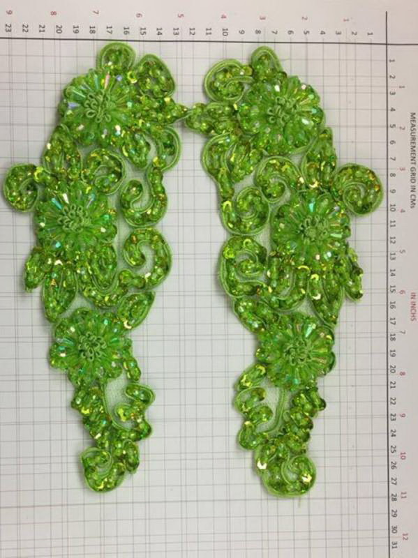 BEAD AND SEQUIN APPLIQUE - 2 piece mirrored set - Green