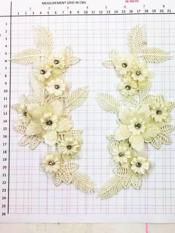 RHINESTONE FLOWER 3D APPLIQUE PAIR Dance Costume