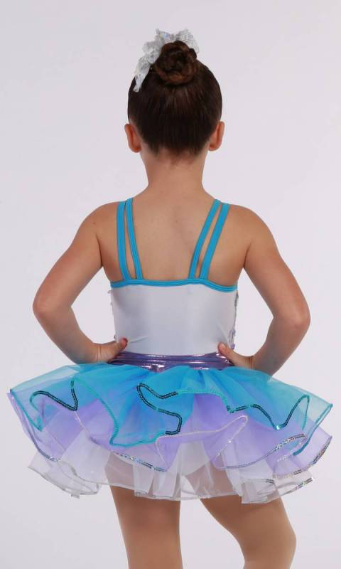 SWEET ON YOU  - Silver sequin mesh and blue, mauve white tulle